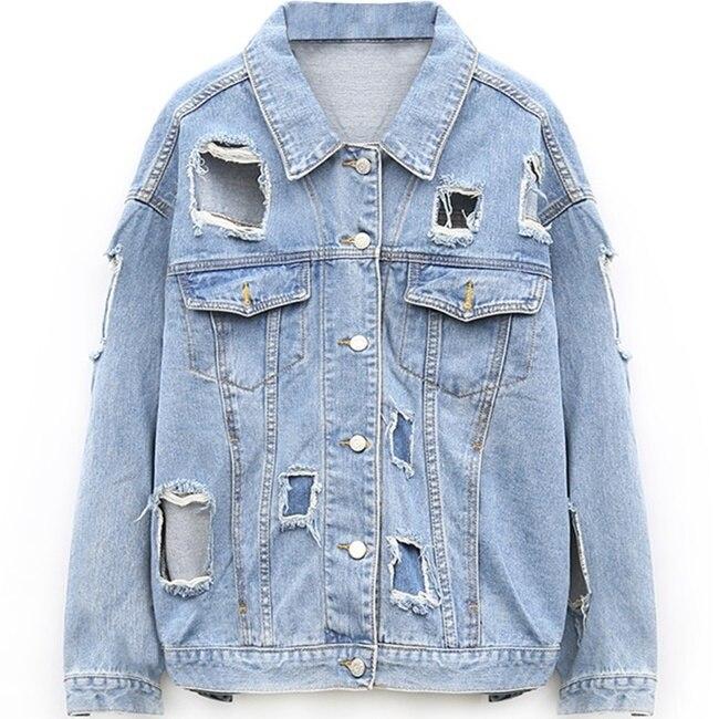 Online Get Cheap Plus Size Denim Distressed Jacket -Aliexpress.com ...