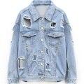 Mulheres jaqueta jeans 2016 moda oversized afligido vintage grande buraco rasgado destruído mulher outerwear ocasional plus size top jean