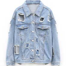Women Denim Jacket 2016 Fashion Oversized Destroyed Outerwear Woman Casual Distressed Vintage Big Hole Ripped Plus Size Jean Top