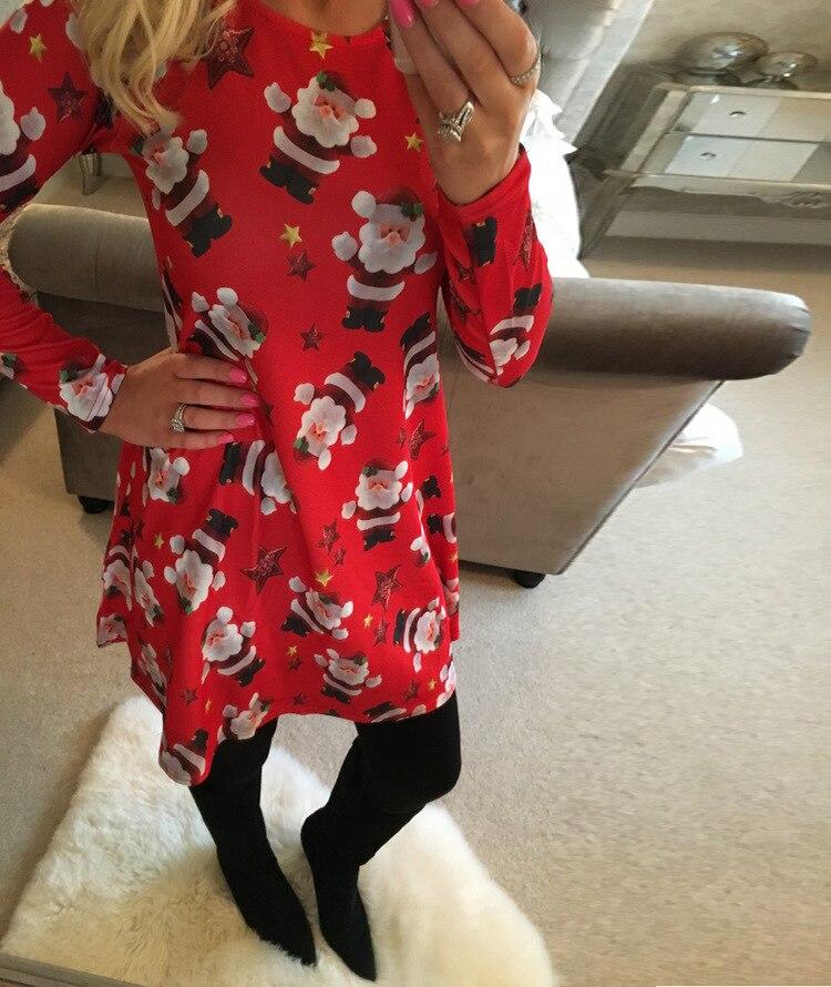 Plus Größe 4XL 5XL Weihnachten Baum Schneemann Kleider Für Frauen 2018 Herbst frauen Casual Langarm Nette Lose Kleid vestidos