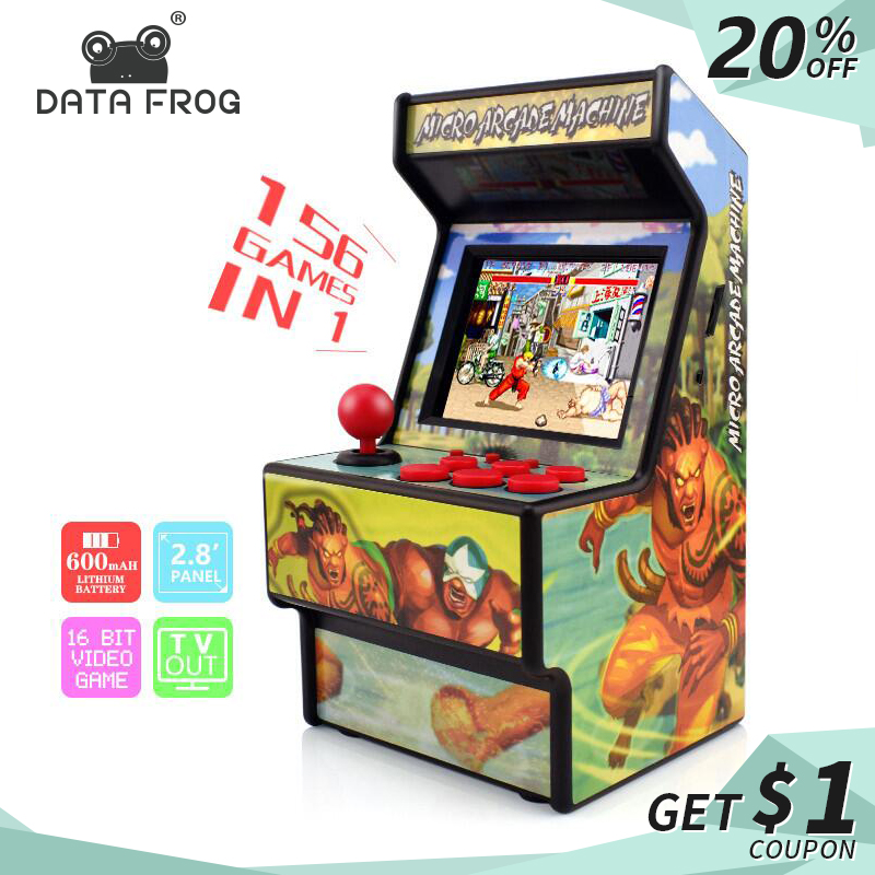 Data Frog Retro Mini Arcade Handheld Game Console 16 Bit Game Player Built-in 156 Classic Games For Kids Gift Toy(China)