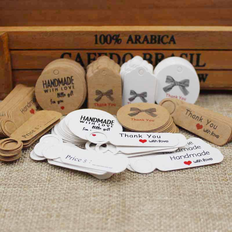 Multi Styles DIY Thank You Gifts  Tag Cardboard Kraft/white Round/scallope Handmade With Love Tag 100pcs Per Lot