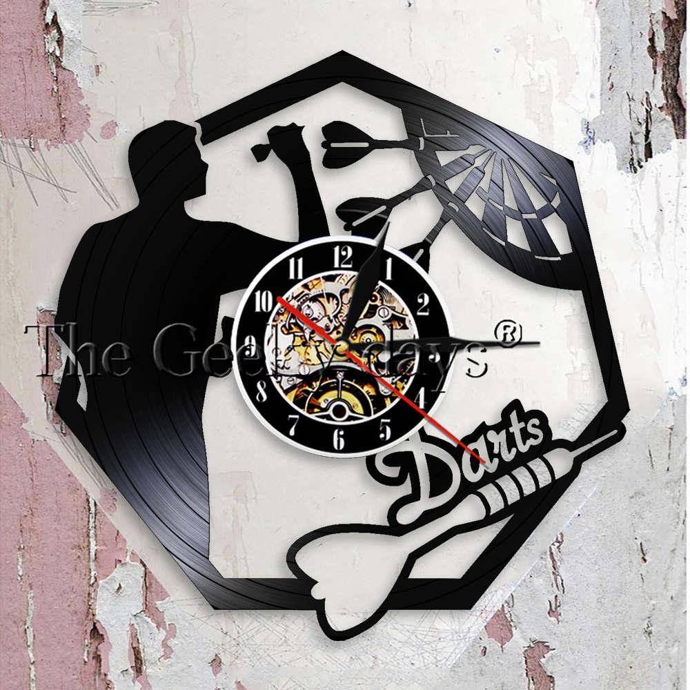 Darts Wall Art Man Cave Game Room Decoration Modern Wall Clock Dart Board Pub Bar Darts Game Night Club Vinyl Record Wall Clock