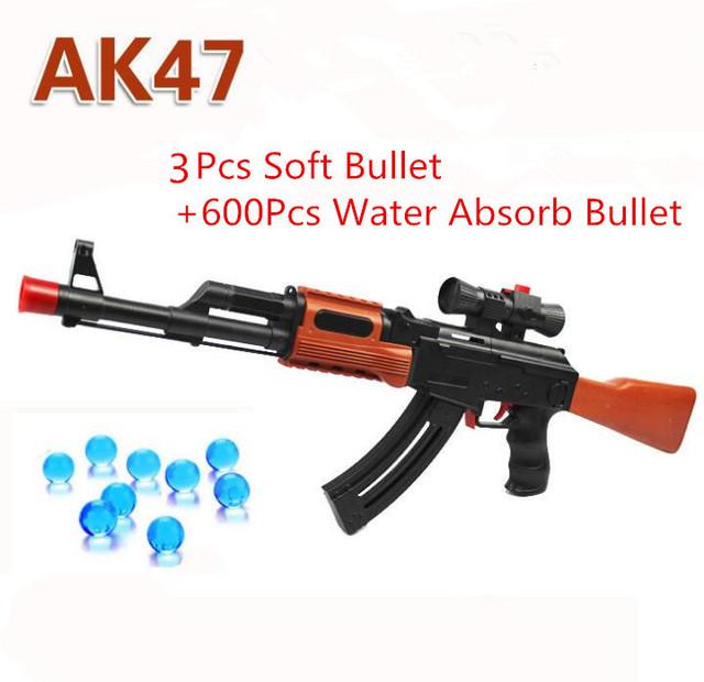 AK 47 Arma de Brinquedo 3 Pcs Bala Bala Mole 600 Pcs Absorver Água Orbeez Pistola Pistola de Água Bala Carabina de Cristal Presente Para As Crianças