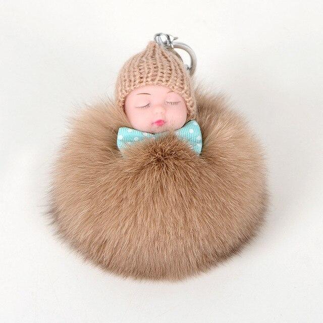 Pele de Raposa Bola Chaveiro Boneca de Dormir do bebê Pé Do Bebê ea Mão Boneca Pompom pele de Raposa Chaveiro Carro Chaveiro Chave titular Charme Jóias