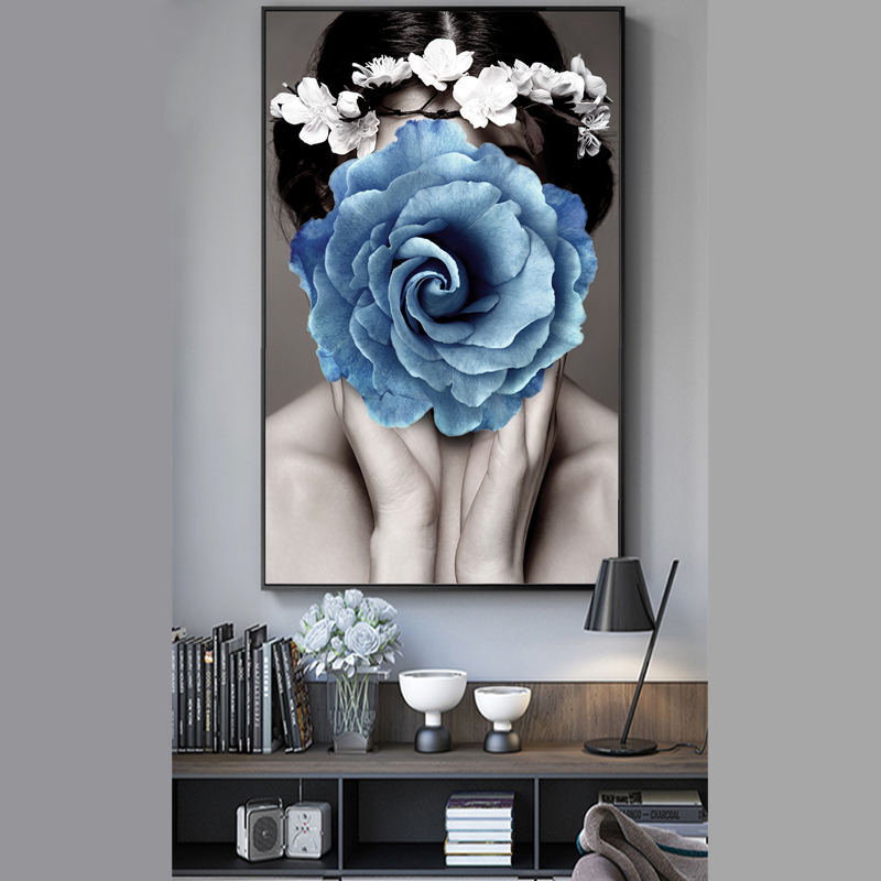 NUOMEGE Wall Art Sexy Girl Abstract Poster Flower Art Print Wall Picture Nordic Modern Canvas Entrance Painting for Home Decor in Painting Calligraphy from Home Garden