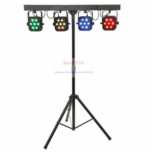 Image 2 - משלוח חינם led par ערכת 4pcs 7x10W 4in1 RGBW led slim שטוח par אורות עם אור stand DMX בקר תיק חבילה סט DJ דיסקו