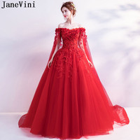 JaneVini Vestidos Arabic Long Evening Dress With Cape Beaded 3d Flowers Tulle Mother Of The Bride Dresses 2018 Sequin Party Gown