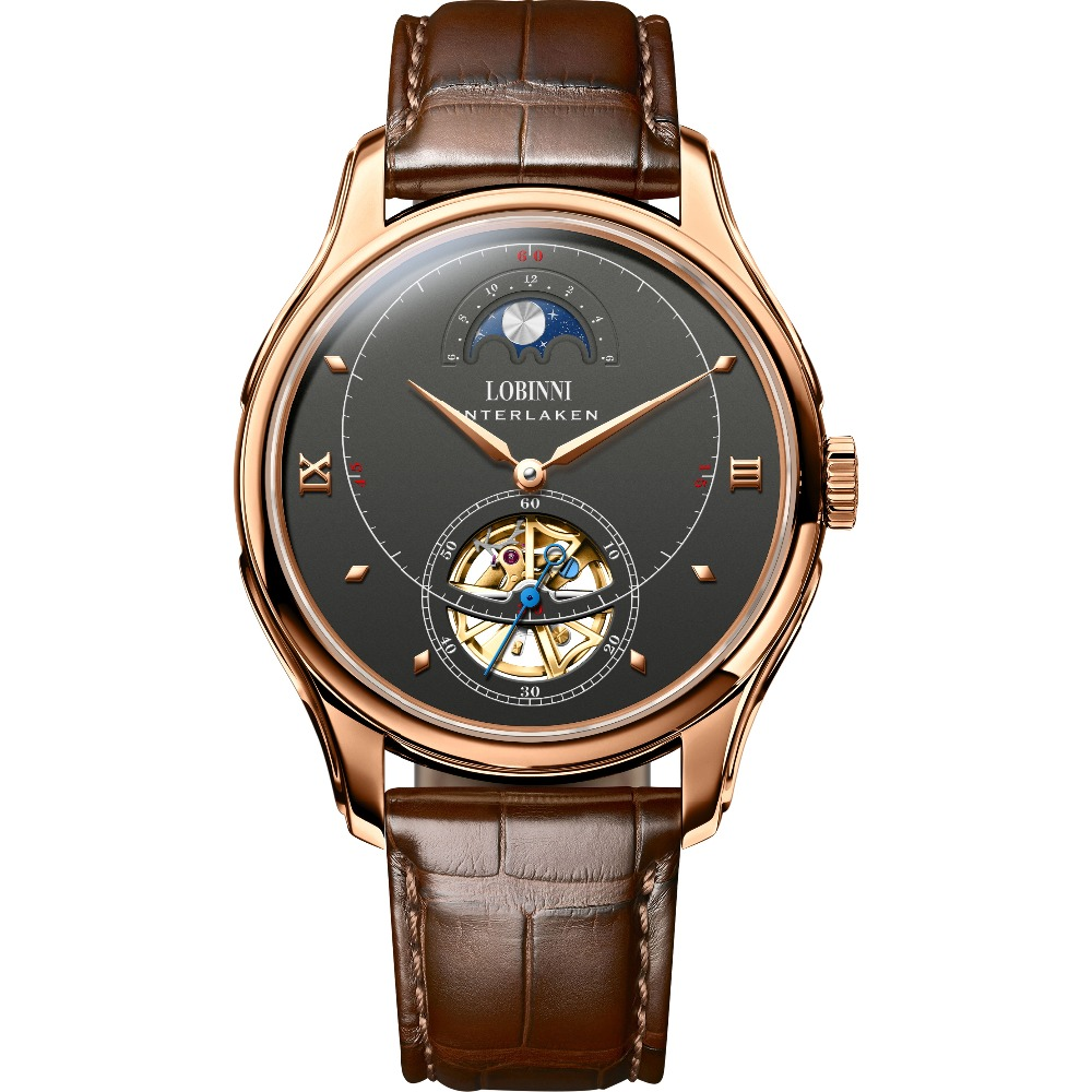 LOBINNI Mens Waterproof Leather/Steel Strap Hollow Out Day Moon Dial Business Automatic Mechanical Wrist Watch Rosegold