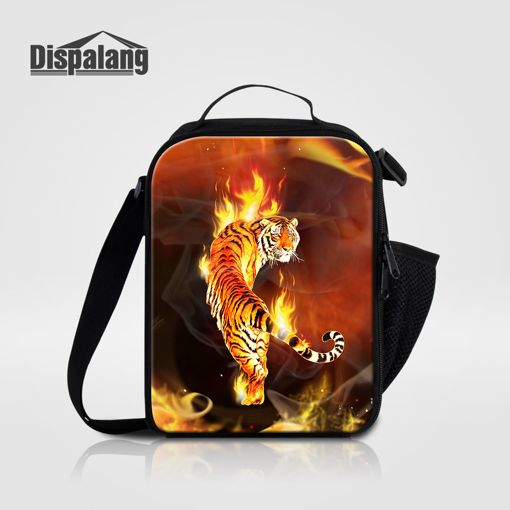 Мужские Термо-холщовые сумки для ланча, лисы, волка, динозавра, змеи, для мальчиков, сумка-холодильник для еды, пикника, Детская маленькая сумка-Ланч-бокс на молнии для школы - Цвет: Lunch Bag01