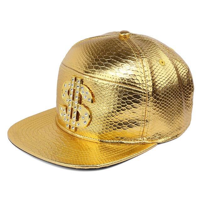 092b9ab1ad115 NYUK Golden Red Black PU Leather Cap Dollar Sign Hats Belt Buckle Baseball  Caps Gorras $ Snapback Crocodile Men Hip Hop Hats