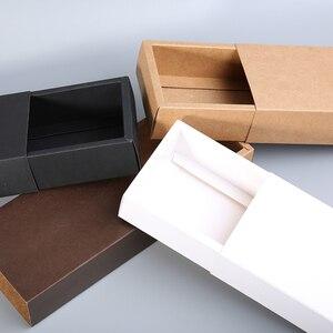 Image 5 - קראפט נייר מגירת סוג קרפט אריזת מתנה לבן שחור תכשיטי עבודת יד סבון אריזת קופסות מסיבת חתונת סוכריות