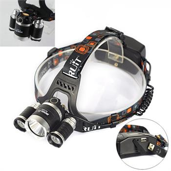 Boruit 30w 8000LM 3x XM-L2 LED Headlight Headlamp Head Torch USB Lamp Flashlight r3 2led super bright mini headlamp headlight flashlight torch lamp 4 models