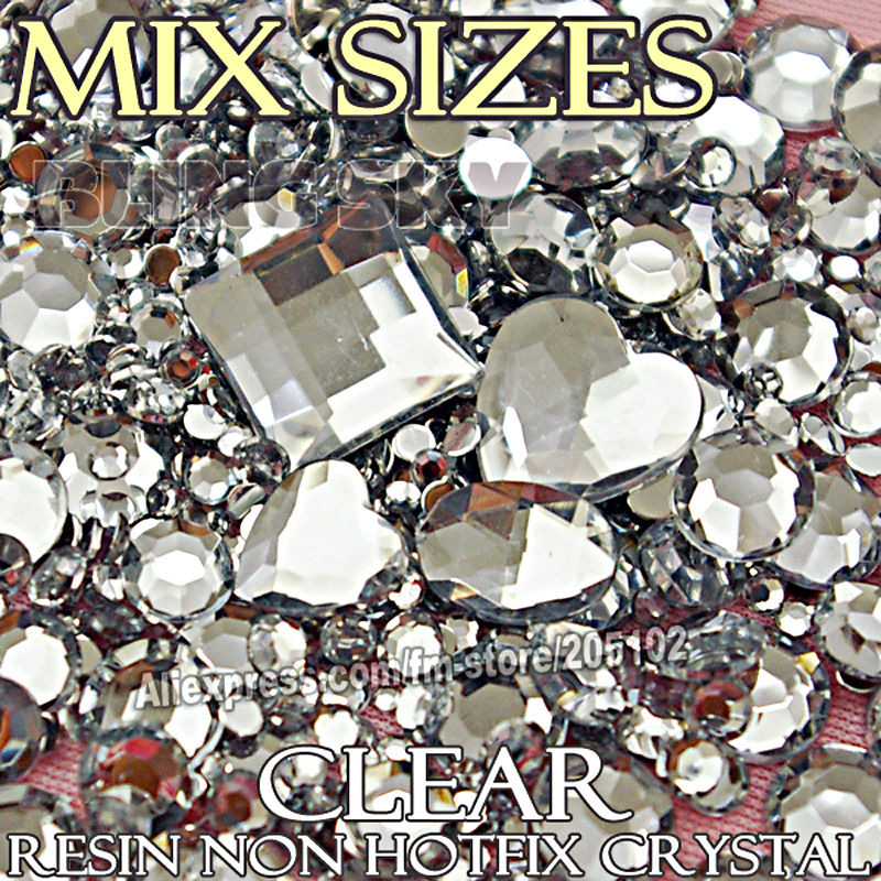 1500Pcs / Lot Mix Størrelser Spikkrystaller Clear Resin Ikke Hurtigreparasjon Flat Rygg Rhinestone Ss6 Ss8 Ss12 Ss20 Ss30 2mm-6mm for DIY Art Detor