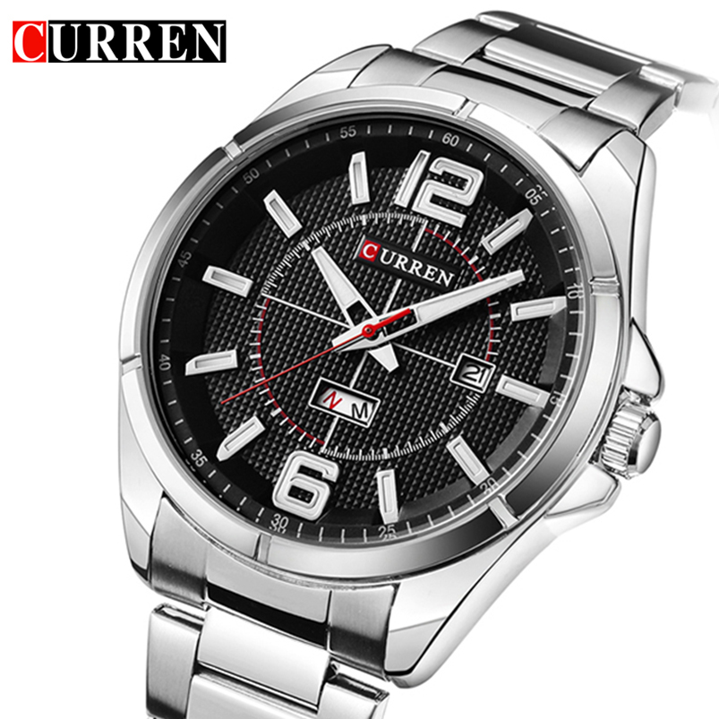 CURREN Date Week Men Watch New Top Luxury Brand Sport Military Business Male Clock Steel Band Wrist Quartz Mens Watches Hot 8271 mens watch top luxury brand fashion hollow clock male casual sport wristwatch men pirate skull style quartz watch reloj homber