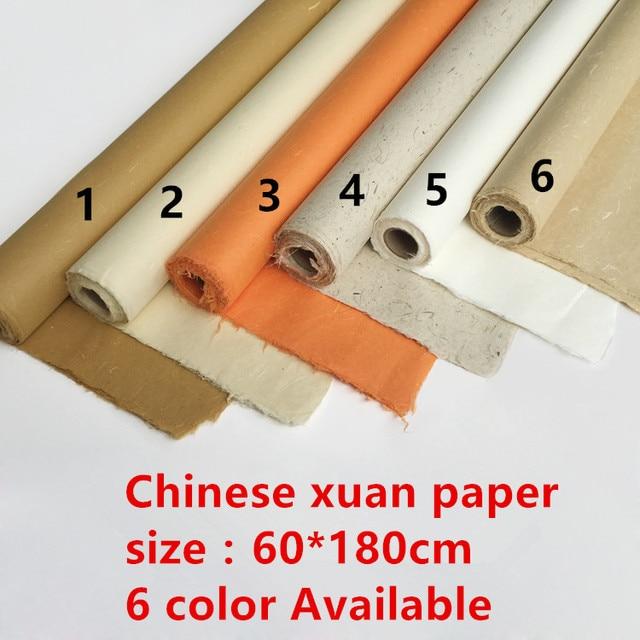 """סואן נייר אורז ציור הסיני סקיצה נייר רגליים חצי 6 גלם באיכות גבוהה עור בעבודת יד ציור יצירה ציטראט 180*60 ס""""מ"""