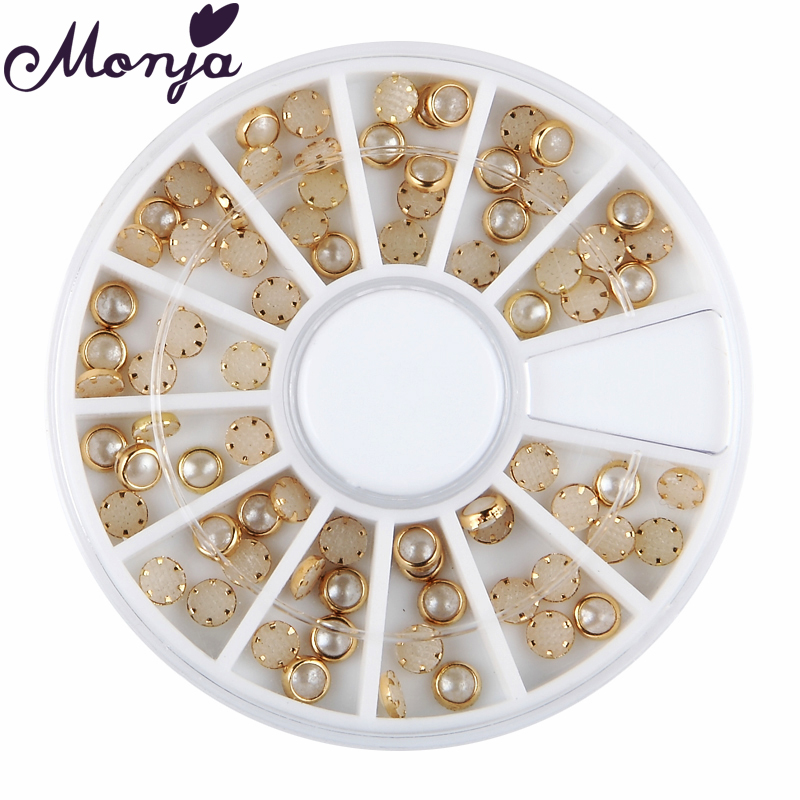 12 Grid/Wheel 4mm Nail Art Acrylic Plating Pearl Bead Set Gel Polish Tips 3D DIY Charm Glitter Gem Jewelry Beauty Decoration Kit golden black nail art crown hollow flakes 3d decoration sticker wheel alloy uv gel polish tips diy charm jewelry accessories