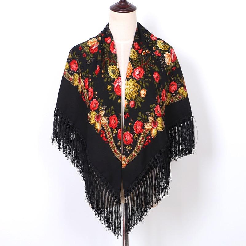Russian Shawls Headscarf Women's 120cm Poncho Square   Scarf   Female   Wrap   Fringed Hijabs Muslim Islamic   Scarves   Large Handkerchief