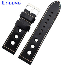 Genuine Leather watch strap 24mm thick Bracelets High quality stitched watch belt Round hole high Quality watchband(China)