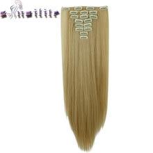 S-noilite 8 Шт./компл. 18 Клипы ins Striaght Полный Глава Клип в Наращивание Волос Синтетических Шиньоны Черный Коричневый блондинка