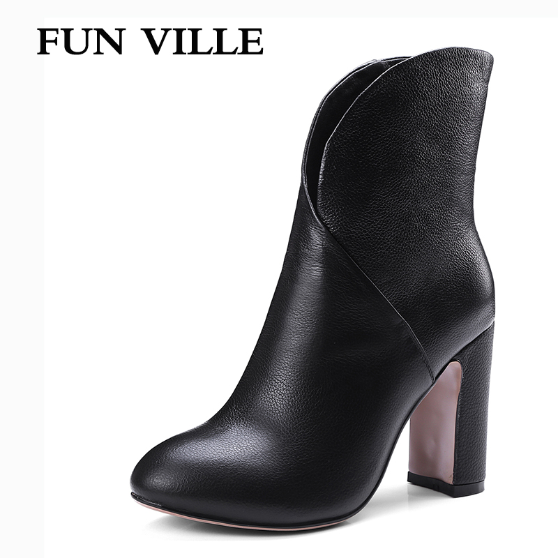 FUN VILLE 2017 New Fashion Autumn Women Ankle Boots Genuine leather High Quality Solid Round toe Slip-on Ladies shoes size 34-42 feidu мода steampunk goggles sunglasses women men brand designer ретро side visor sun round glasses women gafas oculos de sol
