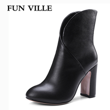 FUN VILLE 2017 New Fashion Autumn Women Ankle Boots Genuine leather High Quality Solid Round toe Slip-on Ladies shoes size 34-42