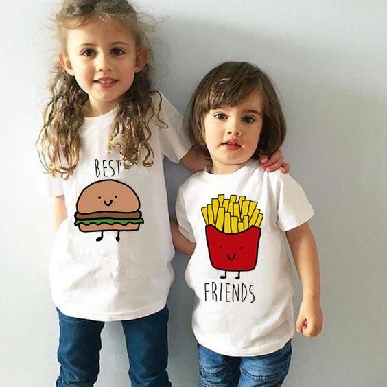 Футболка с короткими рукавами для мальчиков и девочек, модная забавная Повседневная футболка с принтом Best Friend Kids, 2019