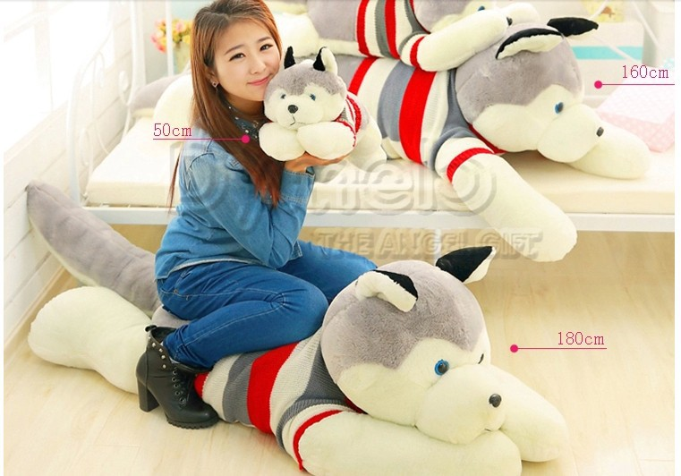 stuffed animal lovely husky dog plush toy about 180cm prone dog doll 70 inch throw pillow sleeping pillow toy h892 stuffed animal 120cm brown lying sleeping dog plush toy soft throw pillow w2302