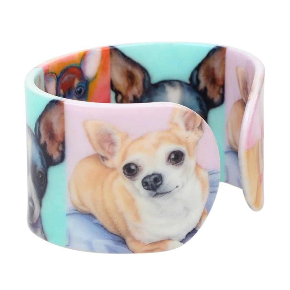 Bonsny Plástico Adorável Chihuahua Cão Pulseiras Pulseiras Moda Indiana Jóias Artesanais Para As Mulheres Das Senhoras Da Menina Novidade Acessórios Para Animais de Estimação