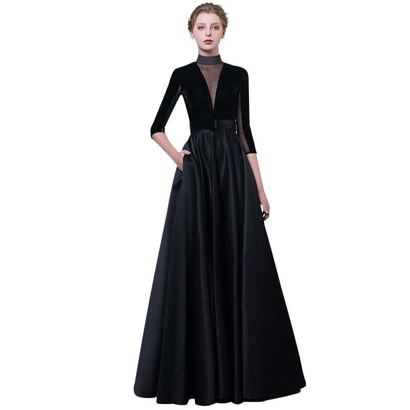 c1da5c17c9c CEEWHY High Collar Vintage Black Evening Dress Plus Size Formal Dress Women  Elegant Long Dresses Evening