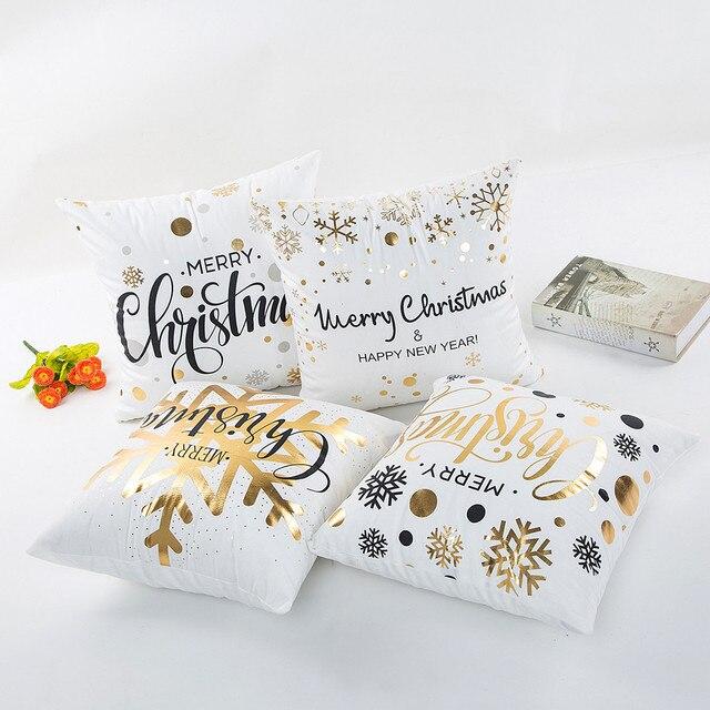 Coperture per Cuscini 45*45 Federa Dekoratif Yastklar Oro Buon Natale Coperte e