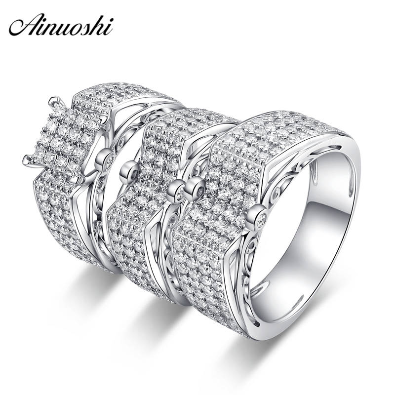 AINUOSHI 925 Sterling Silver Couple Wedding Engagement 4 Prongs Rings Sets Women Men Anniversary Lover Promise Ring Sets Gifts men wedding band cz rings jewelry silver color anillos bague aneis ringen promise couple engagement rings for women