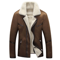 In Stock Mens Fur Leather Jacket Overcoats New Formal Fur Streetwear Plus Size Western Country Vintage
