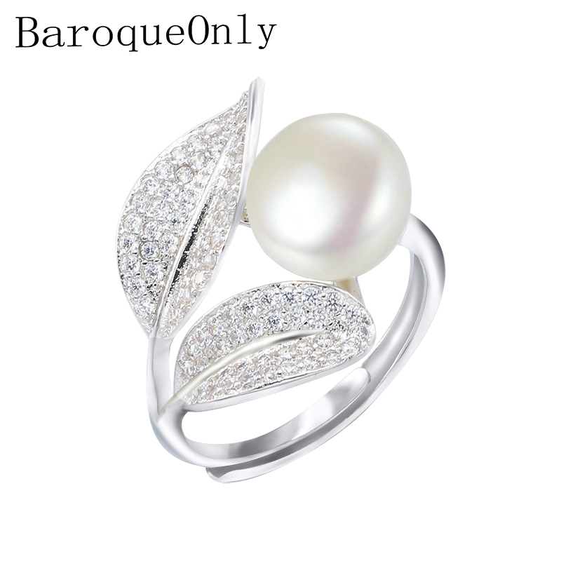 BaroqueOnly Romantic and Shiny Leaf Ring 9-10mm WHITE PINK BLUE Freshwater Pearl Best Christmas Gift for Woman ...
