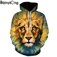 Space Galaxy Hoodies Lion Print Hooded Men Women Hat 3d Sweatshirts Thin Autumn Sweatshirts Hip Hop