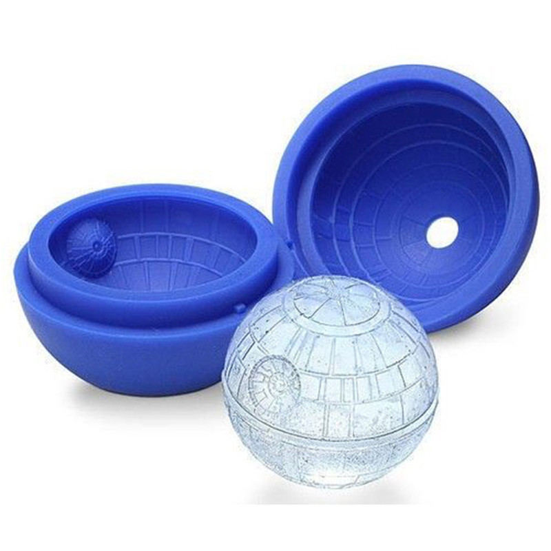 Heißer Kreative Silikon Blau Wars Death Star Runde Ball <font><b>Ice</b></font> Cube Mold Fach Wüste Kugel Mould DIY Cocktail Forma De gelo image