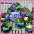 100 unids/lote Rainbow COLOR 8 MM 10 MM 12 MM 14mm 16mm 18mm 20mm Chino Superior calidad Rivoli Cristal Redondo Fancy Stone