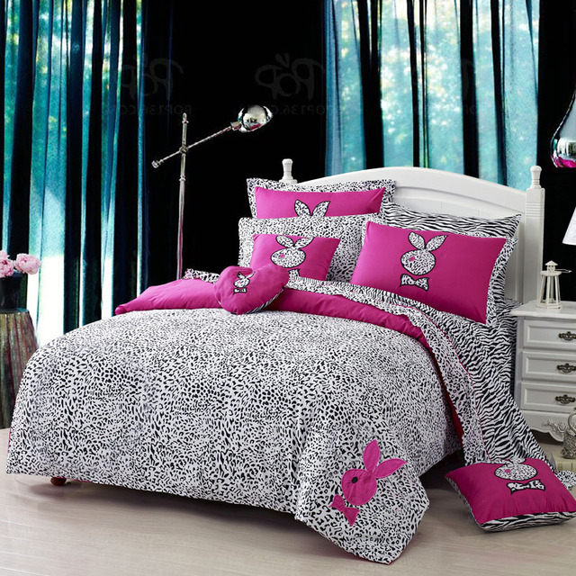 Leopard Printed Pink Rabbit Embroidered Girls Teen Bedding Sets Double  Duvet Cover Bedspread 4pcs Set For Queen Size Comforter