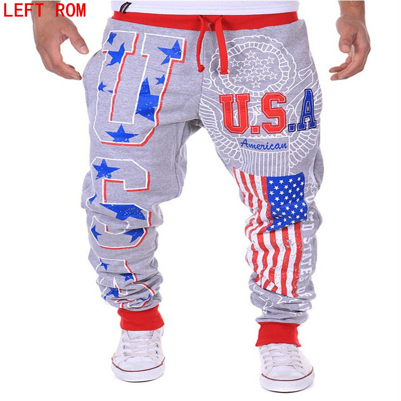2017 Foreign Trade Break Casual Pants American flag USA Letter Print Mens Pattern Lace Belt Elastic Band Short Mouth Pants