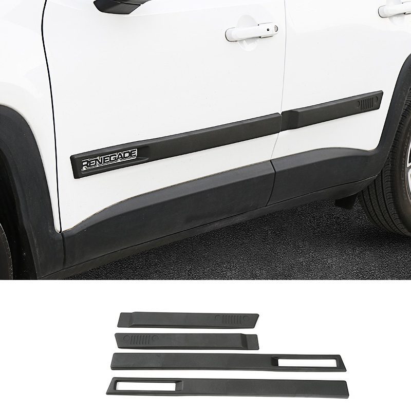 New ABS Body Side Moulding Door Cover Trim Kit Molding Protector Car Styling Mouldings for Jeep Renegade 2015 up