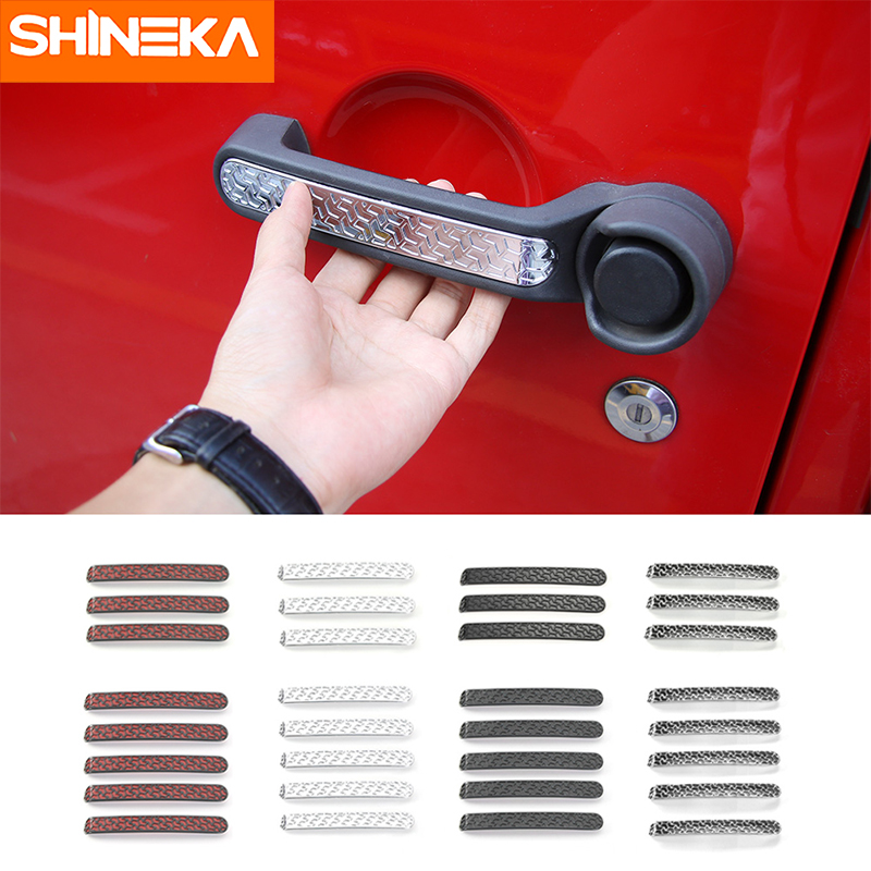 SHINEKA ABS Door Handle Cover Trims Sticker Fit For Jeep Wrangler 2007 + Car Styling Exterior Decoration Accessories exterior 4pcs abs chromed lower door