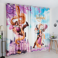 Custom Made 2x Window Drapery Curtain Nursery Kids Children Room Window Dressing Tulle 200cm x 260cm Cartoon Long Hair Princess