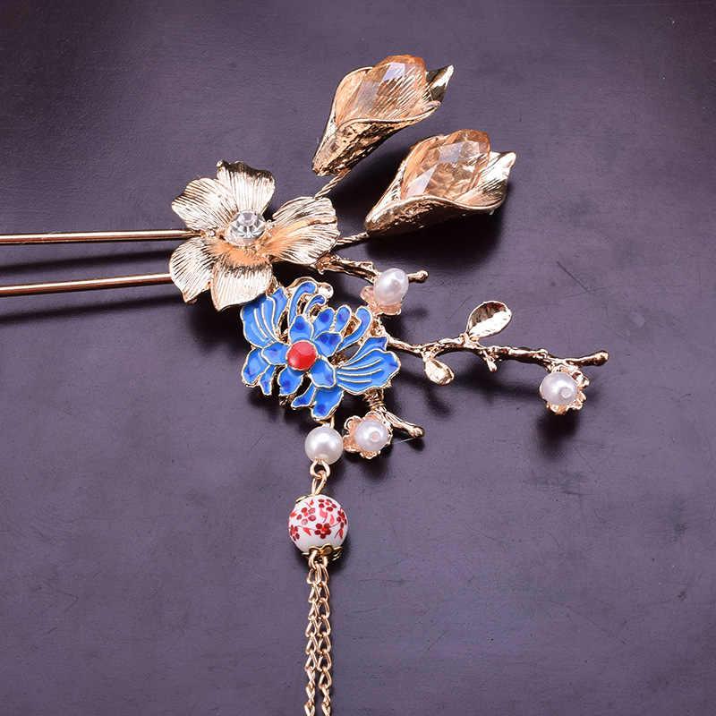 สไตล์จีนสีฟ้าดอกไม้มุกผม sticks Cloisonne เจ้าสาวทองผม STICK
