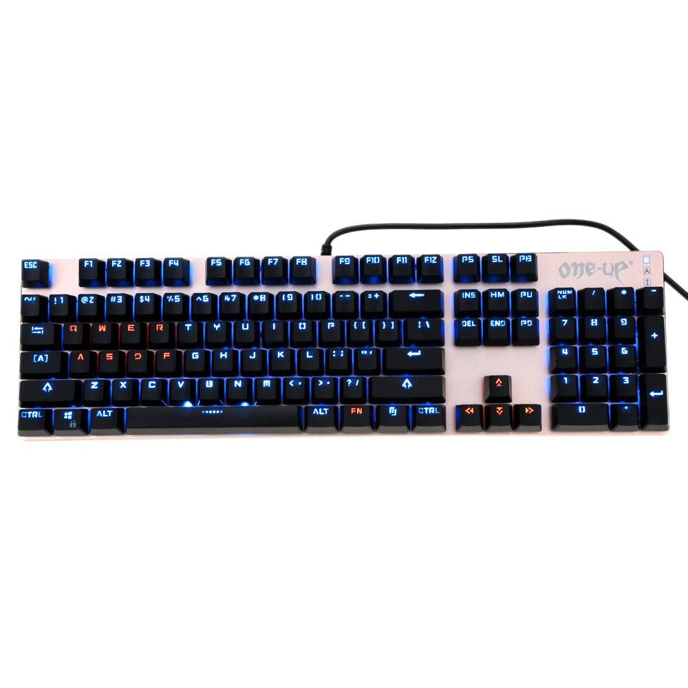 104 keys usb wired gaming mechanical keyboard blue switch suspended button fully led backlit. Black Bedroom Furniture Sets. Home Design Ideas