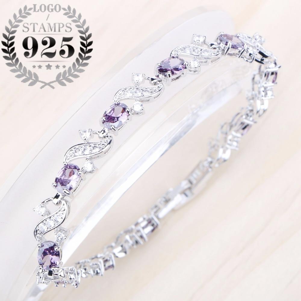 Ladies Bracelet Purple Zircon Stones Silver 925 Jewelry Bracelet For Women Oval Purple Cubic Zircon Free Gift Box pair of elegant faux gem zircon oval floral bracelet for women