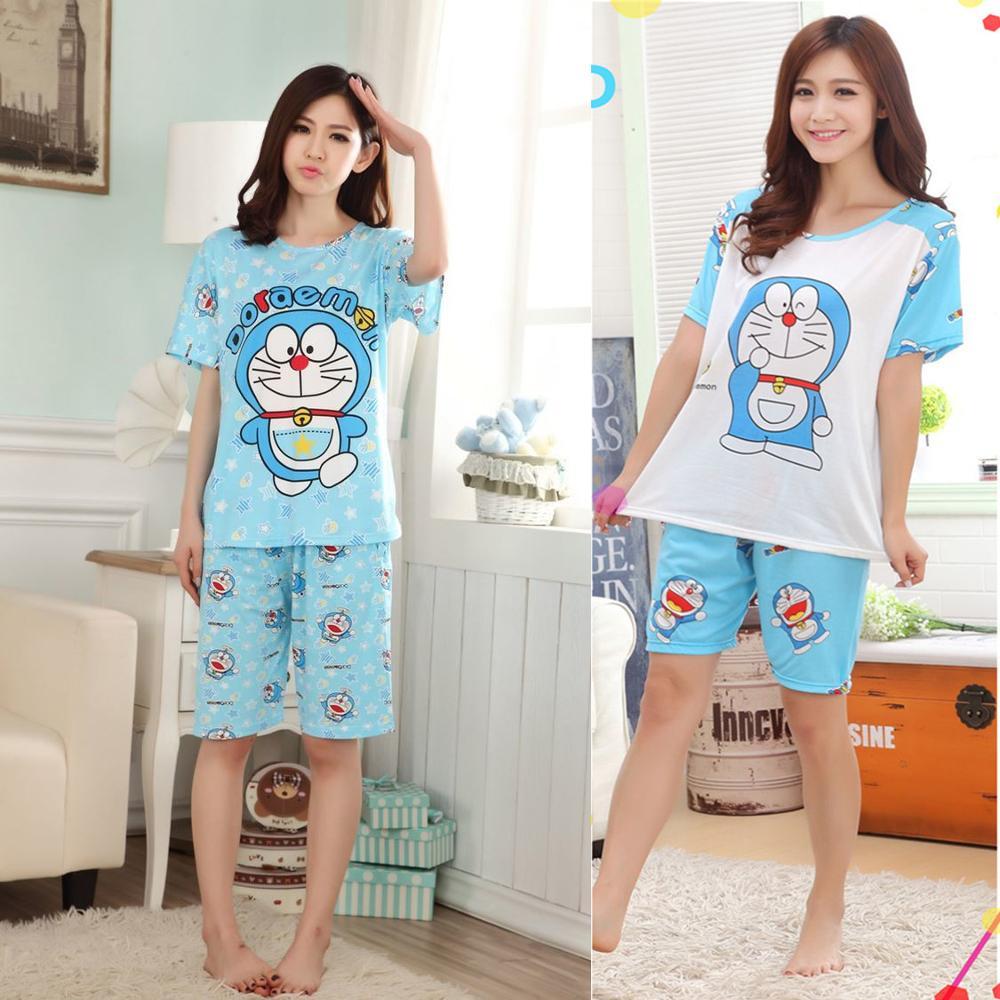 Cool Summer Women Pajama Sets Short Sleeve Sleepwear Cotton Adults Girls Cotton Pyjama Suits Cartoon Doraemon TOP + SHORTS