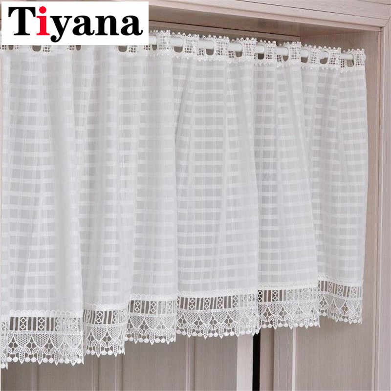 Short curtain white Curtains Kitchen Cabinet Bookshelf Half Lace Curtain Window Wall Decoration Door Drape Screen SC001D3