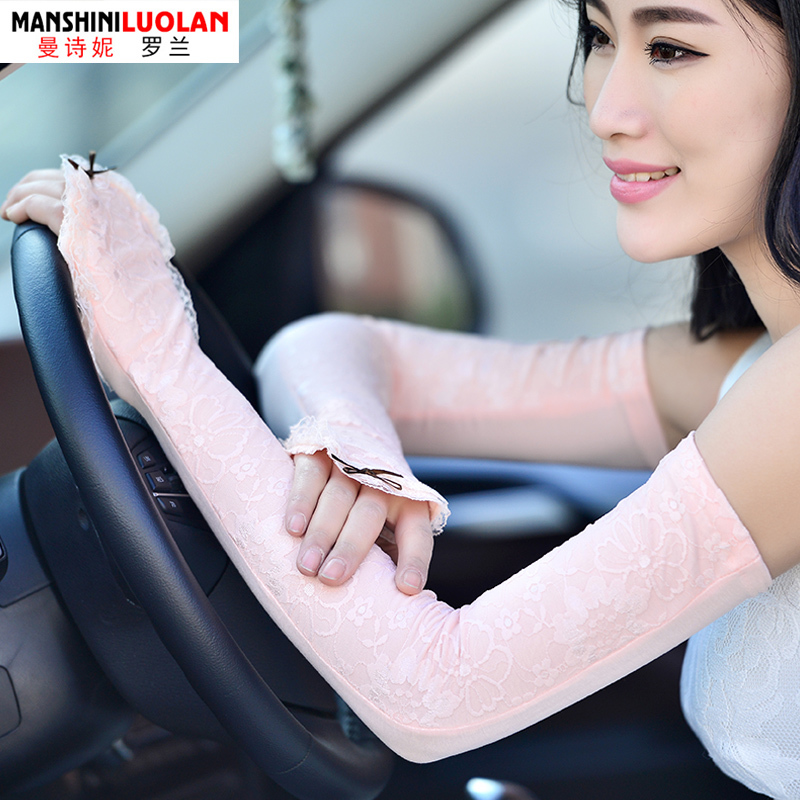 2018 Spring and summer sunscreen gloves woman long lace arm warmers thin silk cuff