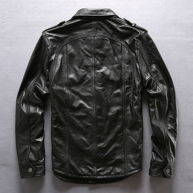 super quality men's cow leather outwear mens cowhide genuine leather vintage rider jacket