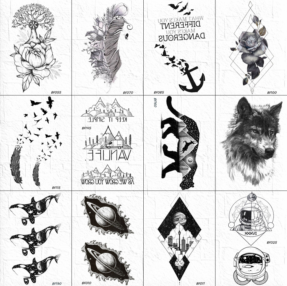 VANKIRS 3D Women Black Temporary Tattoo Body Arm Art Sketch Feather Birds Tatoos Stickers Men Wolf Mountain Tattoo Chest Paste